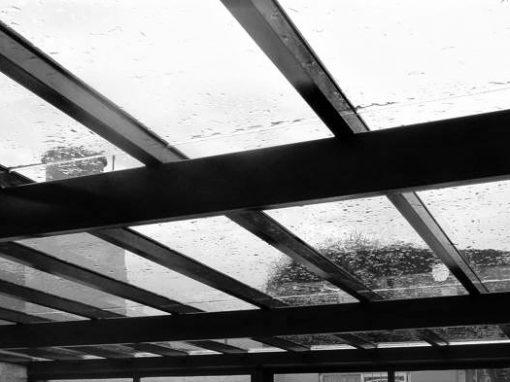 Techo aluminio cristal lluvia
